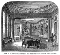 0000939 © Granger - Historical Picture ArchiveLONDON: ROYAL SOCIETY.   Meeting place, from 1710 to 1782, of the Royal Society for the promotion of the mathematical and physical sciences, at Crane-Court, Fleet Street, London, England. Wood engraving, English, 1863.