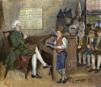 0008171 © Granger - Historical Picture ArchiveELEMENTARY SCHOOL.   A colonial schoolmaster and his pupils in 18th century Pennsylvania. Wood engraving, American, 1881, after Howard Pyle.