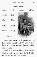 0014746 © Granger - Historical Picture ArchiveMcGUFFEY'S READER, 1879.   Lesson page from an edition of William Holmes McGuffey's 'Frist Eclectic Reader,' 1879.