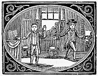 0093124 © Granger - Historical Picture ArchiveSPELLING BOOK, 1755.   'Virtuous Tommy gives naughty Harry some good advice.' Woodcut from 'Fenning's Speller,' an American spelling primer published in 1755.