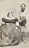 0000808 © Granger - Historical Picture ArchiveFAT LADY & THIN MAN.   John (born 1832) and Hannah Battersby an American circus 'thin man' and 'fat lady.' Cabinet photograph, 19th century.