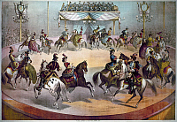 0066741 © Granger - Historical Picture ArchiveAMERICAN CIRCUS, c1872.   The grand finale in the center ring of a circus. American lithograph, c1872.