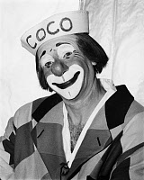 0091792 © Granger - Historical Picture ArchiveCIRCUS: CLOWN, c1965.   Michael Polakovs (1923-2009) as Coco the Clown, wearing the traditional 'auguste' makeup of his role, while a member of the Ringling Brothers Circus. Photographed c1965.