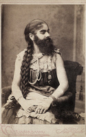 0130623 © Granger - Historical Picture ArchiveANNIE JONES (c1865-1902).   Bearded Lady with P.T. Barnum's circus. Photograph, c1895.