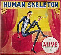 0130627 © Granger - Historical Picture ArchiveSIDESHOW POSTER, c1965.   Sideshow poster by Snap Wyatt for the 'Human Skeleton,' c1965.
