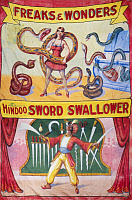 0130631 © Granger - Historical Picture ArchiveSIDESHOW POSTER, c1975.   American sideshow poster featuring a snake charmer and a sword swallower, c1975.