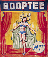 0130632 © Granger - Historical Picture ArchiveSIDESHOW POSTER, c1955.   American sideshow poster featuring Booptee, the antlered pin-up girl, c1955.
