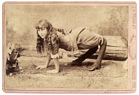 0130639 © Granger - Historical Picture ArchiveSIDESHOW: CAMEL GIRL, 1886.   Sideshow pitch card featuring Ella Harper, the 'Camel Girl,' 1886.