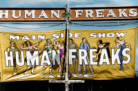 0528876 © Granger - Historical Picture ArchiveVERMONT: SIDESHOW, 1941.   Banner advertising the main sideshow of 'Human Freaks' at the Vermont State Fair in Rutland. Photograph by Jack Delano, September 1941.