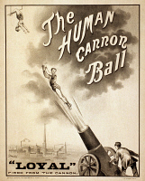 0623788 © Granger - Historical Picture ArchiveHUMAN CANNONBALL, c1879.   American lithograph, c1879.