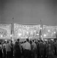 0623900 © Granger - Historical Picture ArchiveOREGON: CIRCUS, 1942.   Sideshow of the circus at Klamath Falls, Oregon. Photograph by Russell Lee, July 1942.