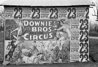 0623938 © Granger - Historical Picture ArchiveCIRCUS POSTER, 1936.   Posters for a Downie Brothers circus near Lynchburg, Virginia. Photograph by Walker Evans, 1936.
