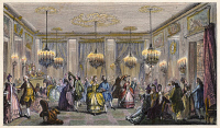 0008779 © Granger - Historical Picture ArchiveBALL, 18th CENTURY.   The Fancy-Dress Ball. After an engraving by Augustin de Saint-Aubin (1736-1807).
