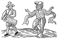 0033598 © Granger - Historical Picture ArchiveDANCE: THE MORRIS, 1600.   William Kemp dancing the Morris. Woodcut from the title-page of Kemp's 'The Nine Daies Wonder', 1600, his account of his journey from London to Norwich, England, in 1599, dancing the Morris all the way.