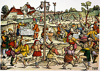 0043927 © Granger - Historical Picture ArchiveVILLAGE CELEBRATION, c1530.   Medieval villagers performing a nose dance during a celebration. Woodcut, c1530, by Nikolaus Meldemann.
