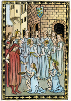 0047382 © Granger - Historical Picture ArchiveMEDICI ARMS, c1496.   A ring of dancing girls before the cornice of a building with the Medici arms. Woodcut from 'Ballatette,' by Lorenzo de' Medici, Politiano, et al, Florence, c1496.