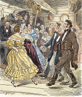 0048338 © Granger - Historical Picture ArchiveCOUNTRY DANCE, 1820s.   A country dance on the American frontier in the 1820s: Drawing by C.W. Jefferys.