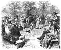 0066465 © Granger - Historical Picture ArchiveCOUNTRY DANCE, c1870.   A country dance on the American frontier: wood engraving, c1870.