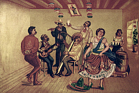 0104636 © Granger - Historical Picture ArchiveMEXICO: HAT DANCE.   Mexican party dancing the 'jarabe tapatío' or hat dance. Illustration after an oil painting, 20th century.