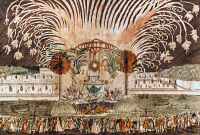0030469 © Granger - Historical Picture ArchiveFIREWORKS IN PARIS   to celebrate a coronation, 18th c.: contemporary French engraving.