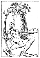 0061810 © Granger - Historical Picture ArchiveA COURT FOOL, 1552.   Woodcut form Sebastian Munster's 'Cosmographia Universalis,' Basel, Switzerland, 1552.