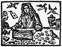 0041583 © Granger - Historical Picture ArchiveISAAC FAWKES (d. 1731).   English conjurer. Isaac Fawkes performing his bag trick, producing eggs and birds. Woodcut from an 1726 advertisement.