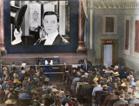 0054590 © Granger - Historical Picture ArchiveMOVIE THEATER, 1920s.   Interior of an unidentified New York City motion picture theatre showing a film with Buster Keaton. Oil over a photograph, 1920s.