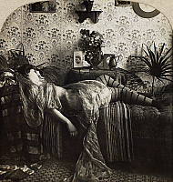 0097122 © Granger - Historical Picture ArchiveSLEEPING WOMAN, c1900.   From the stereograph series 'Sleeping Beauty,' c1900.