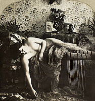 0097130 © Granger - Historical Picture ArchiveSLEEPING WOMAN, c1900.   From the stereograph series 'Sleeping Beauty,' c1900.