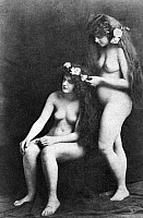 0097349 © Granger - Historical Picture ArchiveTWO NUDES, 1913.   'Rose Maidens.' Nude study, 1913, by an unknown American photographer.