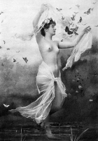0097459 © Granger - Historical Picture ArchiveNUDE WITH BUTTERFLIES.   Nude study, c1900, by the St. Louis photographer Fritz W. Guerin.