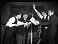 0125090 © Granger - Historical Picture ArchiveRADIO SHOW, c1942.   Rehearsal of the radio show 'You Can't Do Business With Hitler,' written and produced by the Office of War Information, c1942.