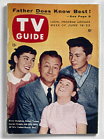 0116439 © Granger - Historical Picture ArchiveTV GUIDE, 1956.   Cover of 'TV Guide' for the week of 16-22 June 1956, featuring cast members from the series 'Father Knows Best,' starring Robert Young (center).