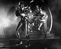 0121025 © Granger - Historical Picture ArchiveBATTLESTAR GALACTICA.   Cylon warriors prepare to attack the human race in a scene from the 1970s American television show 'Battlestar Galactica.'