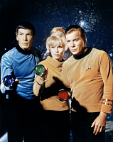 0184306 © Granger - Historical Picture ArchiveSTAR TREK, 1966.   Left to right: Leonard Nimoy as Mr. Spock, Grace Lee Whitney as Yeoman Janice Rand, and William Shatner as Captain James Kirk, holding colored flashlights in a publicity still for the American television series 'Star Trek,' 1966.