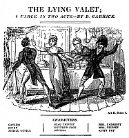 0077529 © Granger - Historical Picture ArchiveGARRICK: THE LYING VALET.   A scene from David Garrick's farce 'The Lying Valet,' printed at Philadelphia in 1778.