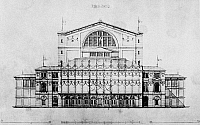 0093040 © Granger - Historical Picture ArchiveBAYREUTH: FESTIVAL THEATER.   Design of the Bayreuth Festival Theater by Otto Brückwald, 1873.