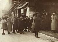 0172642 © Granger - Historical Picture ArchiveVAUDEVILLE AUDIENCE, 1912.   Line of people waiting to see a Vaudeville show at Fall River, Massachusetts. Photograph by Lewis Hine, January 1912.