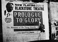 0172858 © Granger - Historical Picture ArchiveTHEATER POSTER, c1937.   Theater poster for 'Prologue to Glory, The Romance of the Young Lincoln,' by E.P. Conkle, at the Blackstone Theater in Chicago, Illinois, c1937.