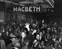 0528507 © Granger - Historical Picture ArchiveMACBETH, 1936.   A crowd outside the Lafayette Theatre in Harlem, on the opening night of the Federal Theatre Project's production of 'Macbeth.' Photograph, 1936.