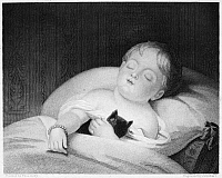 0001164 © Granger - Historical Picture ArchiveCHILD AND PET, 19th CENTURY.  'Bedfellows.' Line and stipple engraving, 19th century, after a painting by Thomas Sully (1783-1872).