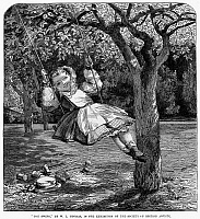 0040315 © Granger - Historical Picture ArchiveTHOMAS: THE SWING, 1864.   Wood engraving, English, 1864, after a painting by William Luson Thomas (1830-1900).