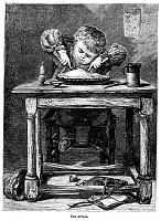 0076653 © Granger - Historical Picture ArchiveCHILD EATING, 1875.   'The Attack.' Wood engraving, American, c1875.