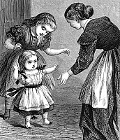 0076658 © Granger - Historical Picture ArchiveINFANT WALKING.   Wood engraving, 19th century.