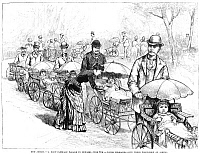 0076685 © Granger - Historical Picture ArchiveFATHERS AND CHILDREN, 1884.   'A Baby-Carriage Parade in Newark, June 8th - Young Husbands Give Their First-Born an Airing.' Wood engraving from an American newspaper of 1884.