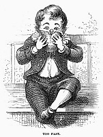 0093510 © Granger - Historical Picture ArchiveBOY EATING.   'Too Fast.' Wood engraving, American, 1876, after David Hunter Strother (known as Porte Crayon).