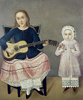 0103833 © Granger - Historical Picture ArchiveMEXICO: CHILDREN, c1850.   Girl with a guitar and another with a flower bouquet, in typical mid-19th century Mexican fashion. Oil on canvas by an unknown artist, c1850.