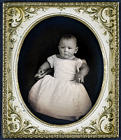 0126689 © Granger - Historical Picture ArchiveINFANT, c1855.   Full-length portrait of an unidentified child. Daguerreotype, c1855, with brass frame.