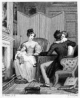 0092814 © Granger - Historical Picture ArchiveENGLAND: FAMILY, c1810.   Young family at the fireside. Steel engraving, English, after Richard Westall (1765-1836).