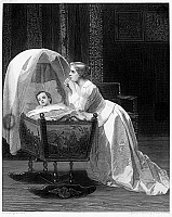0093444 © Granger - Historical Picture ArchiveMOTHER PRAYING.   'The Mother's Prayer.' Steel engraving, American, c1870, after a painting by Florent Willems.